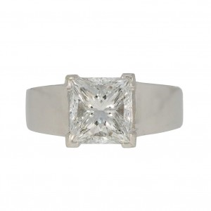 Pierścionek z platyny, z diamentem Princess Cut 2,28ct